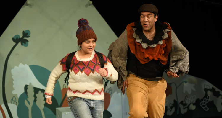 Sura Latif as CJ and Allan Othieno as Dougie in Sno Snow at Scottish Youth Theatre